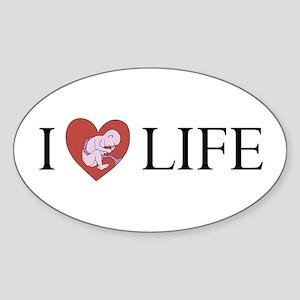 I LOVE LIFE baby heart Oval Sticker