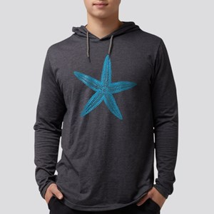 Blue Starfish Pattern Mens Hooded Shirt