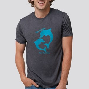 CUSTOM TEXT Cute Dolphins Mens Tri-blend T-Shirt