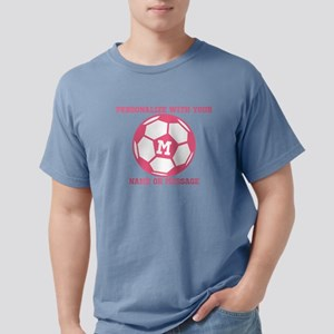 PERSONALIZED Pink Soccer Ball Mens Comfort Colors
