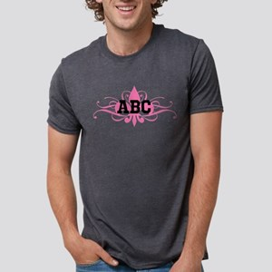 CUSTOM TEXT Pink Fleur De Lis Swirls Mens Tri-blen