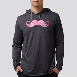 Pink Moustache Mens Hooded Shirt