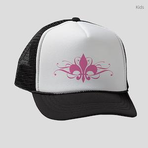 fleur-de-lis-swirls_pink Kids Trucker hat