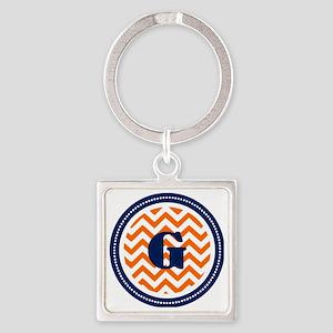 Orange Chevron G Monogram  Square Keychain