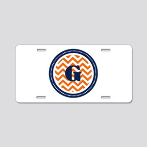 Orange & Navy Aluminum License Plate