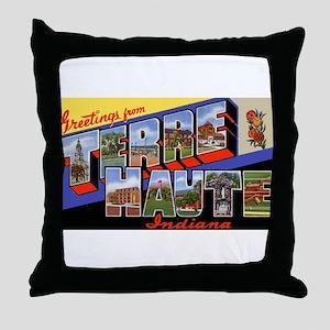 Terre Haute Indiana Greetings Throw Pillow