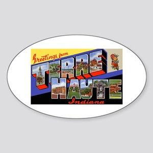 Terre Haute Indiana Greetings Oval Sticker