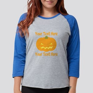 CUSTOM TEXT Jack O Lantern Womens Baseball Tee