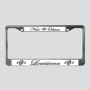 Fleur 504, black & white License Plate Frame