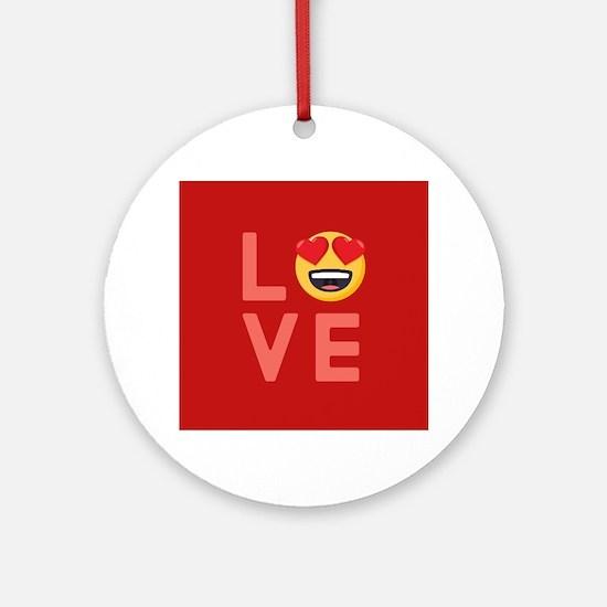 Love Emoji Round Ornament