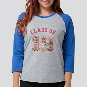 Class of 19 Floral Pink Womens Baseball Tee