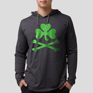 Shamrock And Crossbones Mens Hooded Shirt