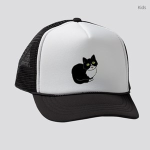 Tuxedo Cat Tuxie Kids Trucker hat