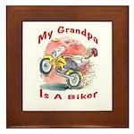 Grandpa Biker Framed Tile