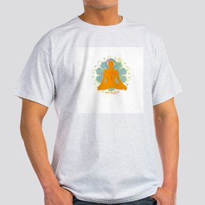 Get it Om. Male, Yoga Lotus P Ash Grey T-Shirt