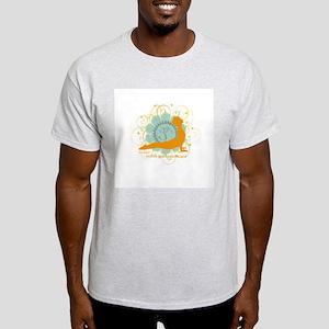 Get it Om. Upward Dog, Yoga P Ash Grey T-Shirt