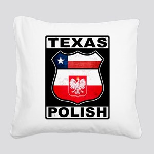 Texas Polish American Square Canvas Pillow