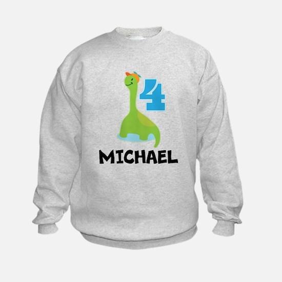4th Birthday Boys Dinosaur Personalized Sweatshirt