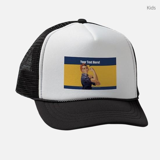 CUSTOM TEXT Vintage Rosie Kids Trucker hat