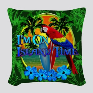 Island Time Surfboards Woven Throw Pillow