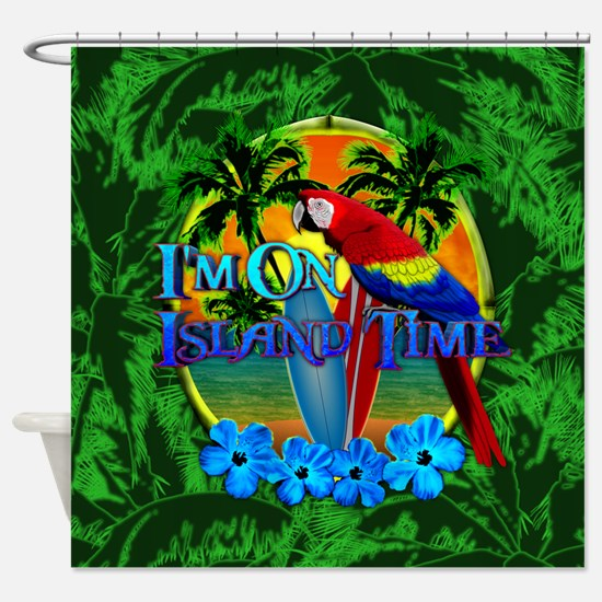 Island Time Surfboards Shower Curtain