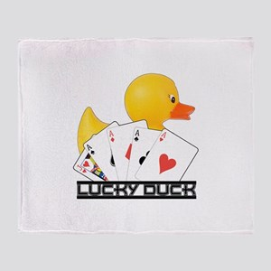 Lucky Duck Poker Throw Blanket