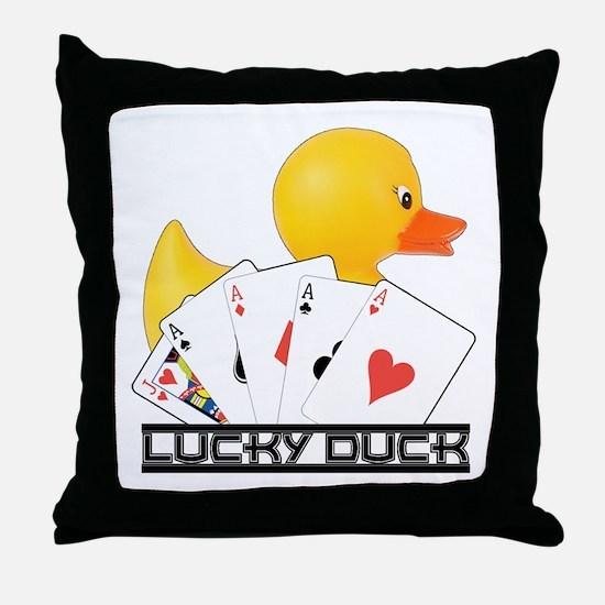 Lucky Duck Poker Throw Pillow