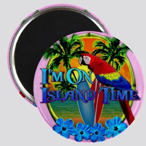 Island Time Surfing Pink Magnet