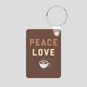 Peace Love Coffee Emoji Aluminum Photo Keychain