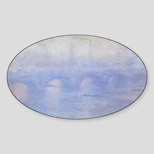 Waterloo Bridge by Claude Monet Sticker (Oval)
