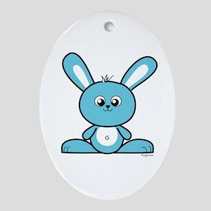 Blue Bunny Oval Ornament