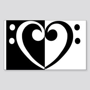 Bass Heart Music Rectangle Sticker