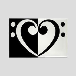 Bass Heart Music Rectangle Magnet
