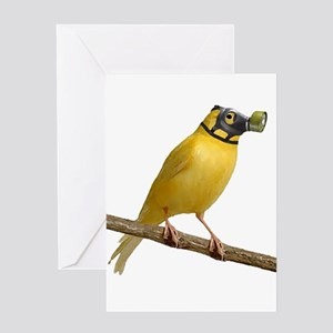 Canary Wearing Gas Mask Greeting Cards
