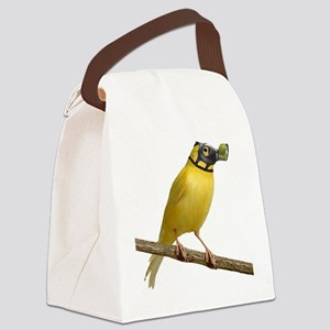 Canary Wearing Gas Mask Canvas Lunch Bag