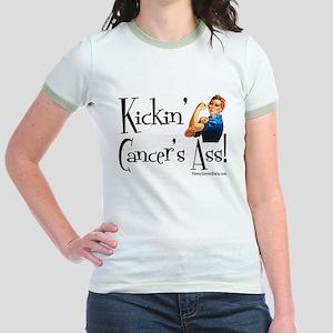 Kickin' Cancer's Ass! Jr. Ringer T-Shirt