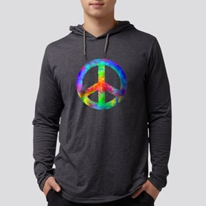 Distressed Rainbow Peace Sign Mens Hooded Shirt