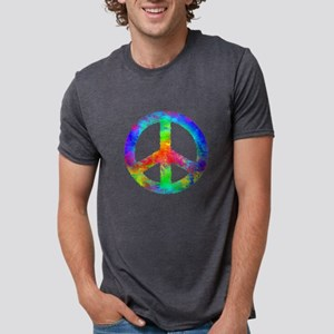 Distressed Rainbow Peace Si Mens Tri-blend T-Shirt