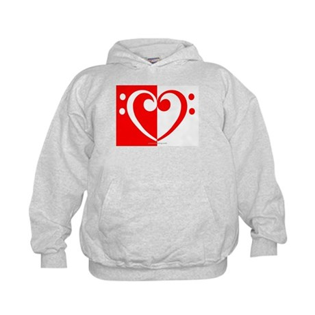 Red Bass Heart Kids Hoodie