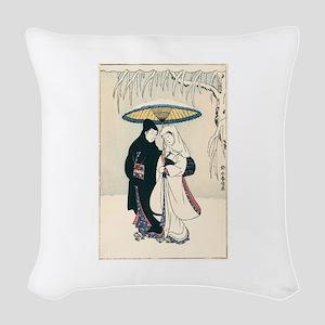 Winter Couple Woven Throw Pillow