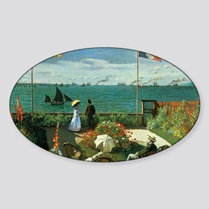 Terrace at the Seaside by Claude Mo Sticker (Oval)