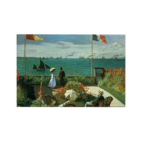Terrace at the Seaside by Claude Rectangle Magnet