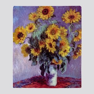 Bouquet of Sunflowers by Claude Mone Throw Blanket