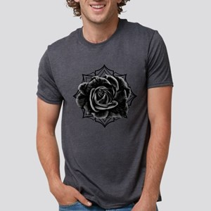 Black Rose On Gothic Mens Tri-blend T-Shirt