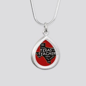 Texas Teacher Silver Teardrop Necklace