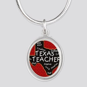 Texas Teacher Silver Oval Necklace