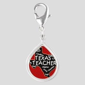 Texas Teacher Silver Teardrop Charm