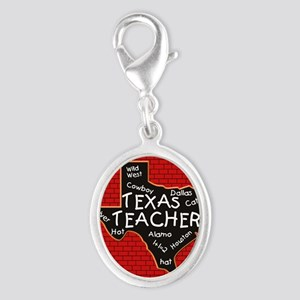 Texas Teacher Silver Oval Charm