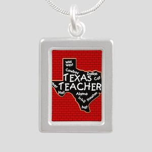 Texas Teacher Silver Portrait Necklace