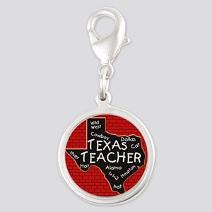 Texas Teacher Silver Round Charm